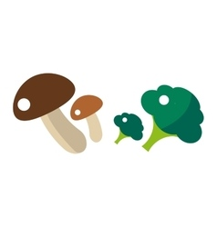Fresh green broccoli and mushrooms isolated vector