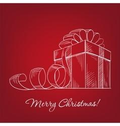 gift box - hand drawn vector image