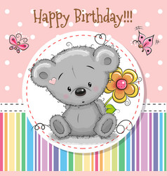 greeting card cute teddy bear vector image