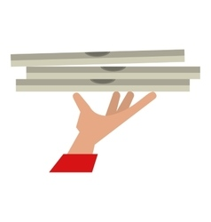 Hand holding pizza box delivery vector