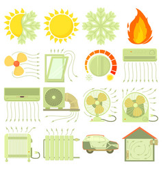 Heat cool air flow tools icons set cartoon style vector