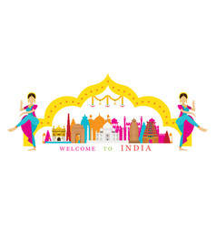 india landmarks with traditional dancer vector image vector image