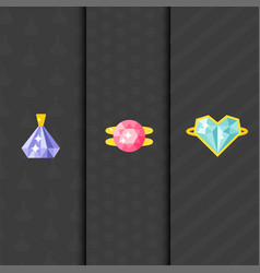 Jewelry items gold cards elegance gemstones vector