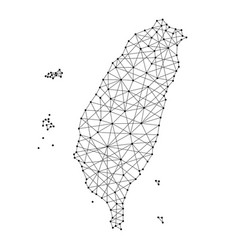 Map of taiwan from polygonal black lines and dots vector