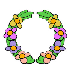 Memorial wreath of flowers icon icon cartoon vector