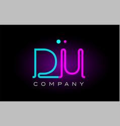 Neon lights alphabet du d u letter logo icon vector