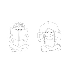 Outline funny kids reading books for coloring vector image vector image