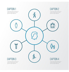 Person outline icons set collection of mother vector