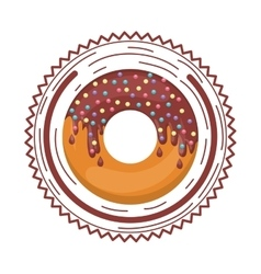 Plate with chocolate donut and colored dragees vector