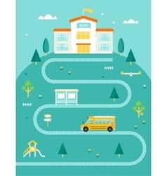 School Bus Taking Kids to School Rural Landscape vector image vector image
