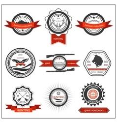 Set emblems hunting wolf eagle deer vector