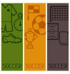 Sports banners with soccer football symbols vector image vector image
