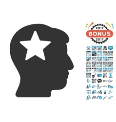 Star head icon with 2017 year bonus pictograms vector