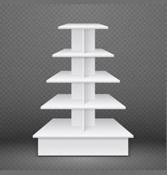white exhibition stand with square shelves retail vector image vector image
