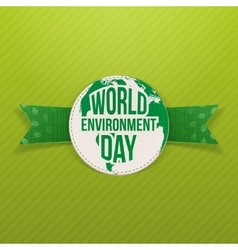 World Environment Day Eco Label and Ribbon vector image vector image