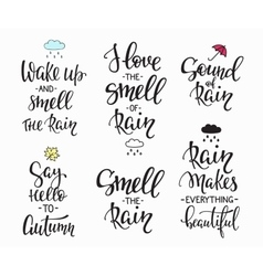 Rain autumn days quotes typography set vector