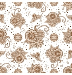 Henna elements with dots seamless pattern vector image