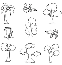 Hand draw set of tree doodles vector image