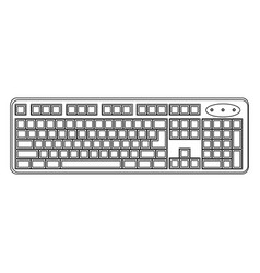 White computer keyboard icon vector