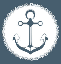 anchor in a frame with a chain marine concept logo vector image