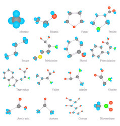 Molecules substances icons set flat style vector