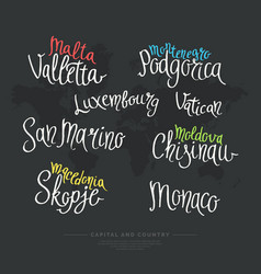 Hand drawn lettering country and capital europe vector