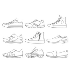teenage shoes in linear style vector image