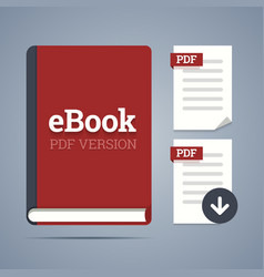 Electronic book template with documents icons vector