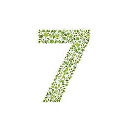 Spring green leaves eco number 7 vector image