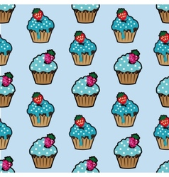 Cream cake blue seamless pattern vector