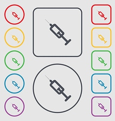 Syringe icon sign symbol on the round and square vector