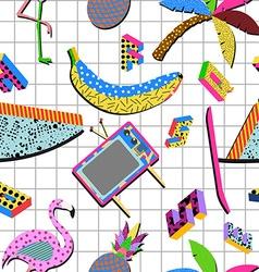 Retro 80s summer pattern background vector