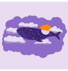 Night whale flies through the sky vector image