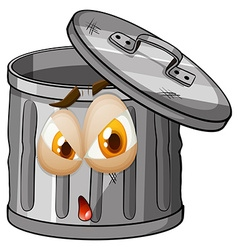 Trashcan with facial expression vector