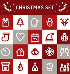 Line art christmas and new year icon set vector