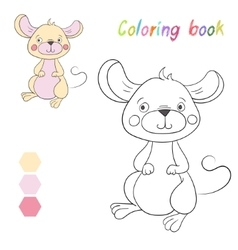 Coloring book mouse kids layout for game vector