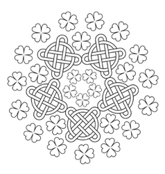 Celtic Mandala with knot ornament and clover of 4 vector image