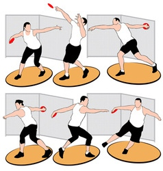 Set of discus throwing athletes vector