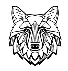 black Wolf head vector image