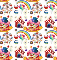 Seamless clown and circus rides vector image