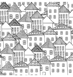 Magic city street background ink pen zentangle vector