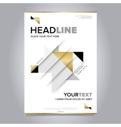 Gold annual report brochure design template vector