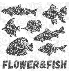 Set of fish silhouettes with flower pattern vector