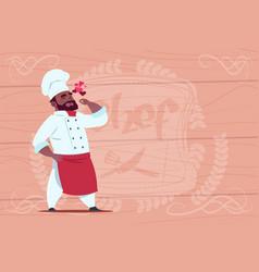 African american chef cook happy smiling cartoon vector