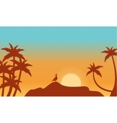 At sunrise bird on rock scenery silhouettes vector