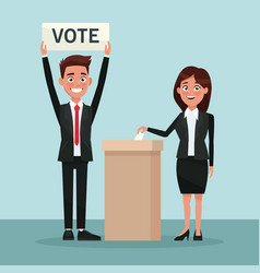 Background scene woman in formal suit vote in urn vector