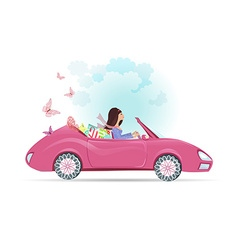 Car woman in pink convertible with shopping bags vector image