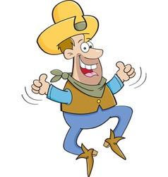 Cartoon cowboy jumping vector image vector image