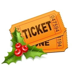 Christmas sale tickets with the mistletoe vector