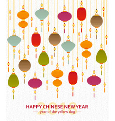 Colorful chinese paper street lanterns background vector